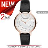 Emporio Armani Ladies' Watch   Mother Of Pearl Dial   Black Leather Strap   AR80011