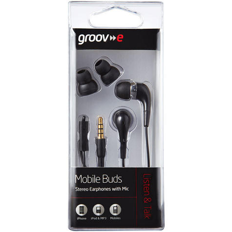 Groov-e Mobile Buds Stereo Earphones with Microphone - Black GVEB4BK Thumbnail 3