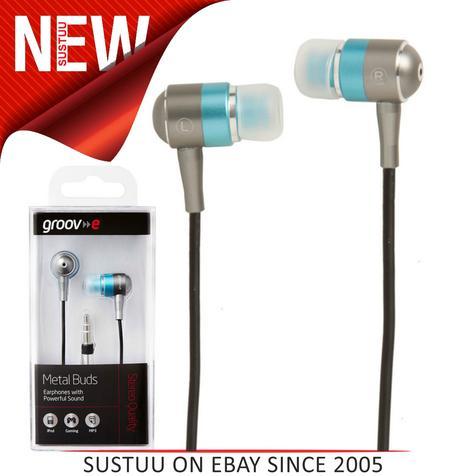 Groov-e Metal Buds Stereo Earphones - Silver/Blue GVEBMBE Thumbnail 1