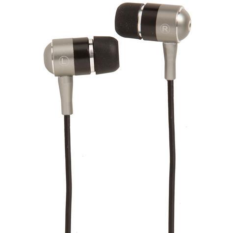 Groov-e Metal Buds Stereo Earphones - Silver/Black GVEBMBK Thumbnail 1