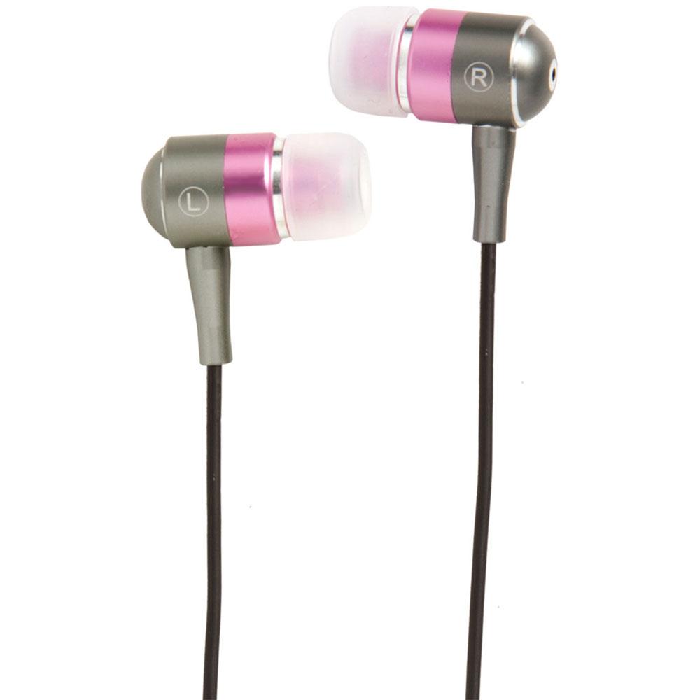 Groov-e Metal Buds Stereo Earphones - Silver/Pink GVEBMPK