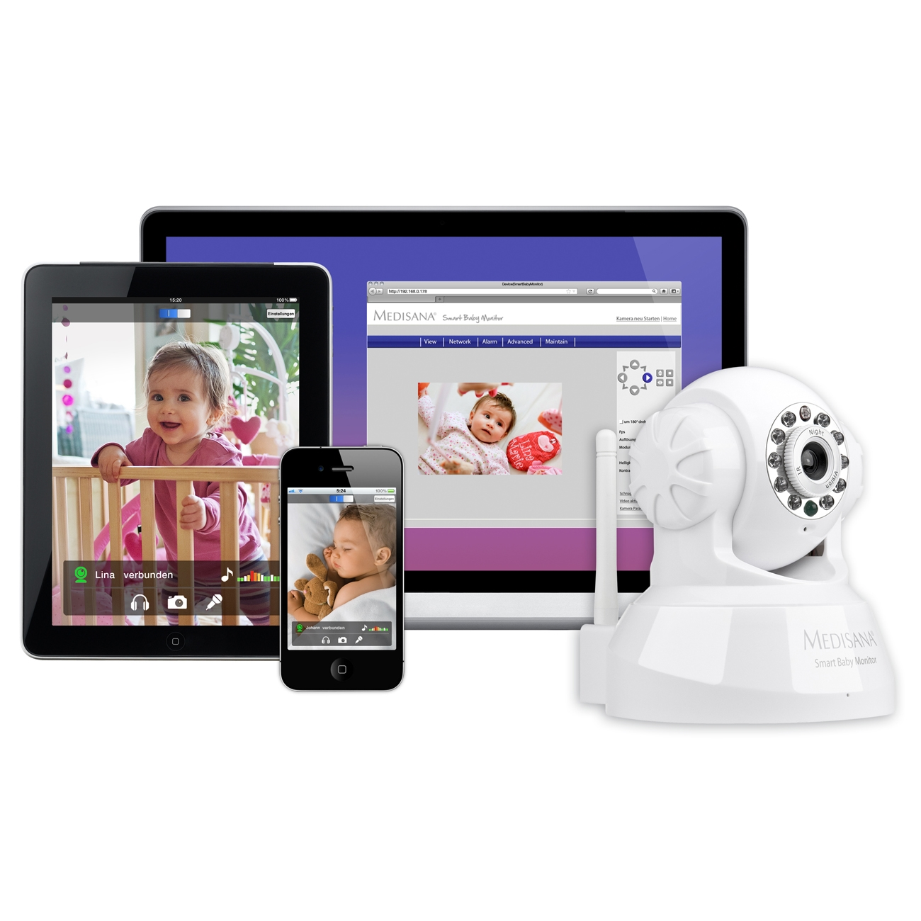 Medisana Smart Baby Audio & Video Wireless Wifi Monitor iPhone Smart Phone PC
