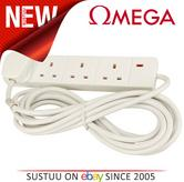 4 Way 2 Meter Mains Extension Lead with 13 AMP Fused Electric Socket Power Cable