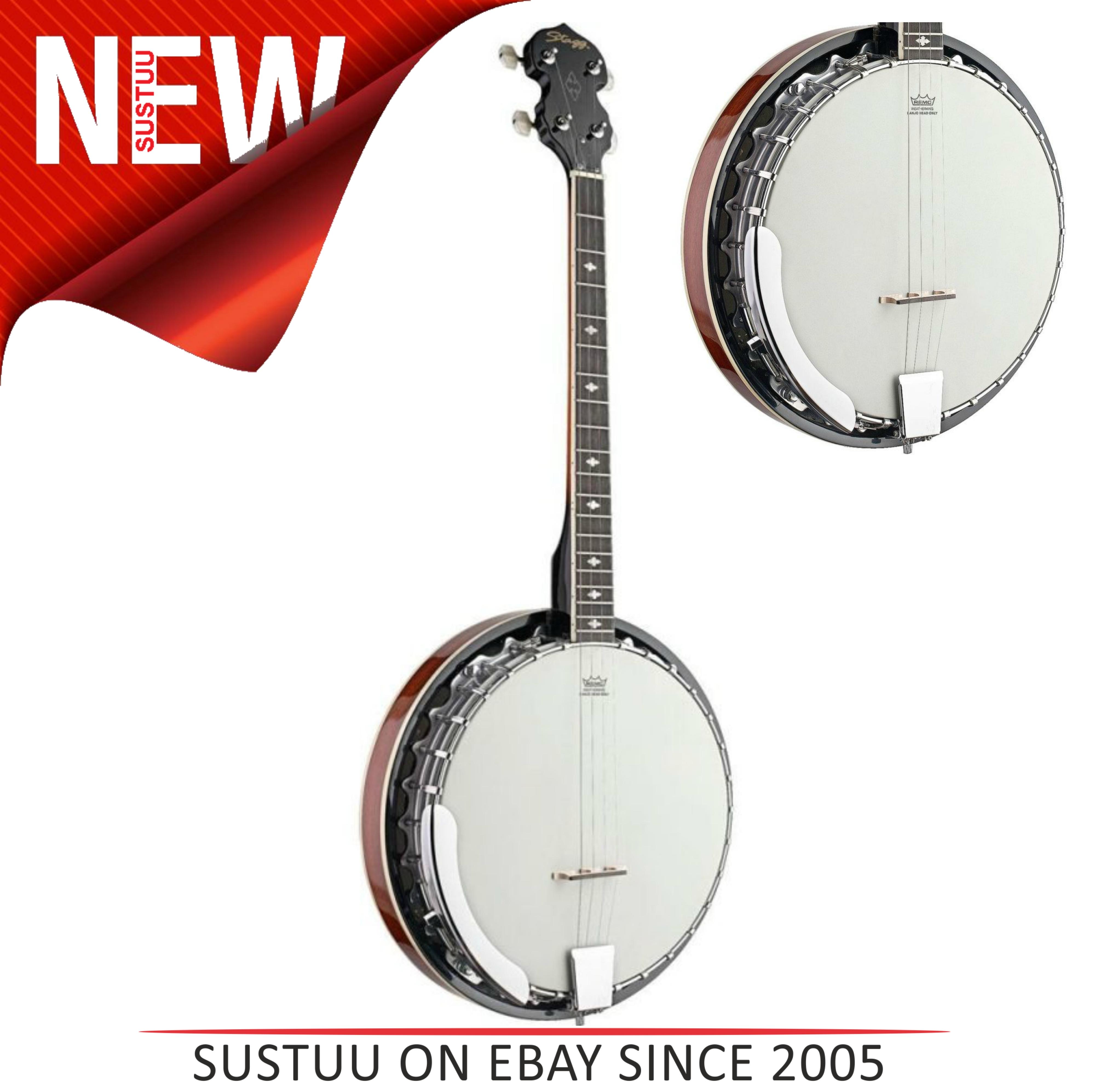Stagg 4 BJM304DL String Bluegrass Banjo Deluxe With Armrest & Metal Pot  Music