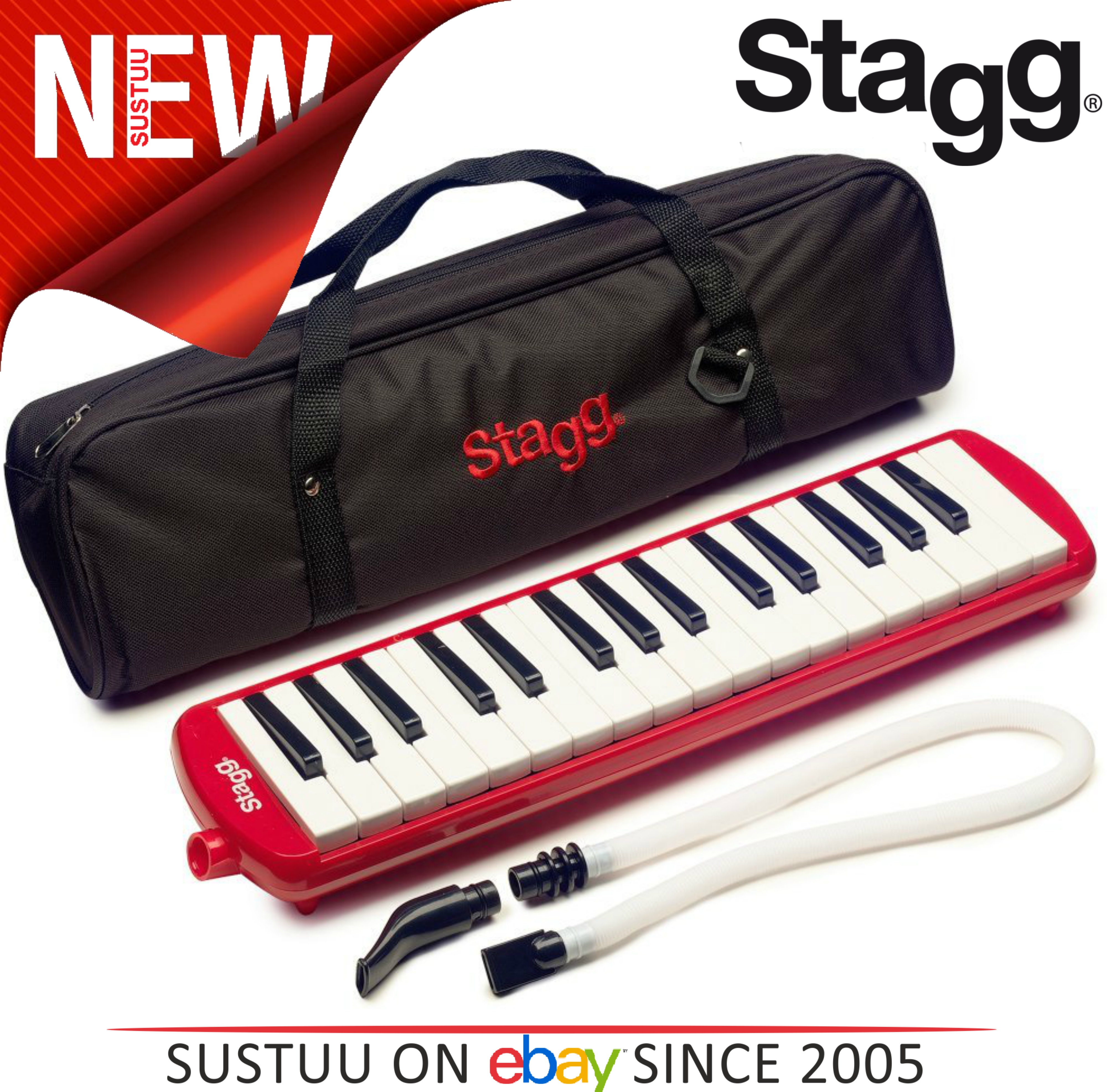 Stagg Melodica Red Music Reed 32 Keys Mouthpiece Piano Keyboard  - MELOSTA32RD