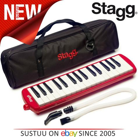 Stagg Melodica Red Music Reed 32 Keys Mouthpiece Piano Keyboard  - MELOSTA32RD Thumbnail 1
