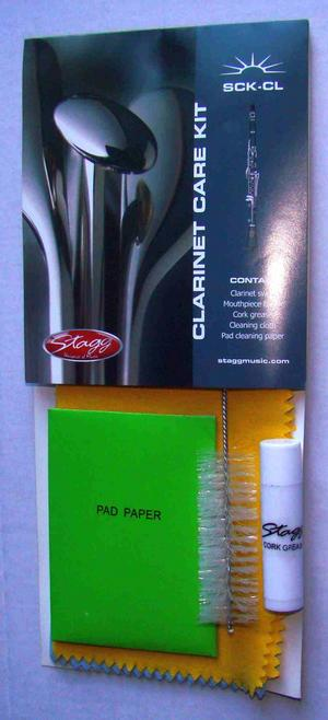Stagg Clarinet Care Kit Set Swab Mouthpiece Brush Cork Grease Cleaning Cloth  Thumbnail 2