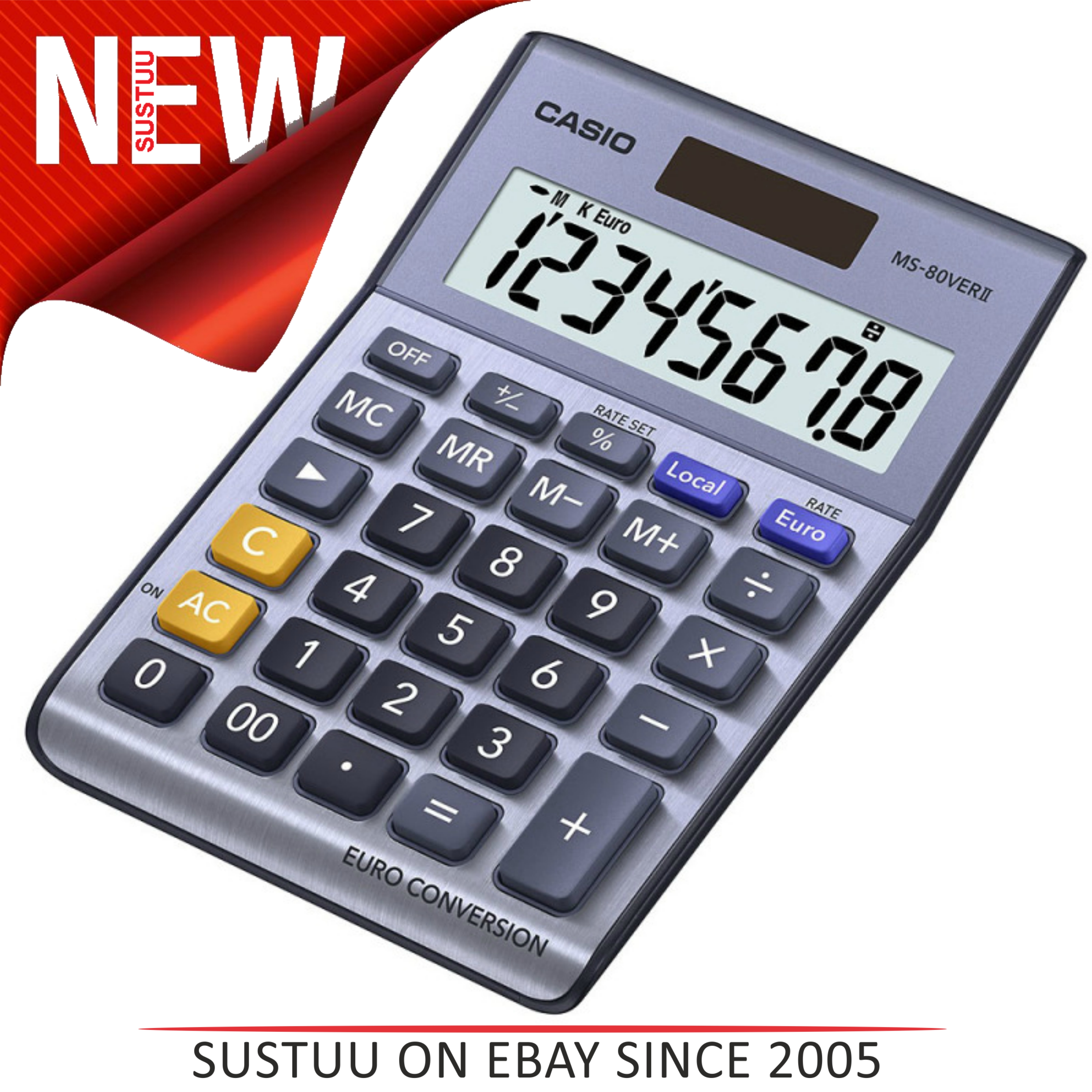 Casio Desk Calculator with Euro Conversion | Home-Office-Business Use | MS80VERII