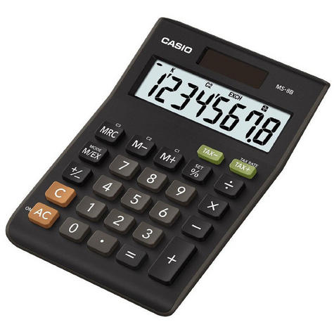 Casio MS8B Large 8 Digit Multi Function Tax VAT Desk Calculator Dual Solar Power Thumbnail 3