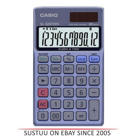 Casio SL-320TER Pocket Calculator VAT Tax Euro Conversion Profit Margin Function Thumbnail 1