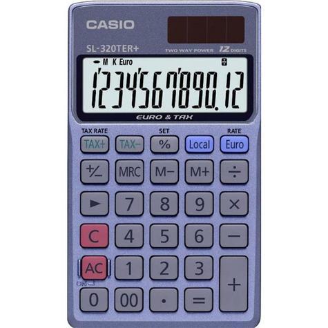 Casio SL-320TER Pocket Calculator VAT Tax Euro Conversion Profit Margin Function Thumbnail 1