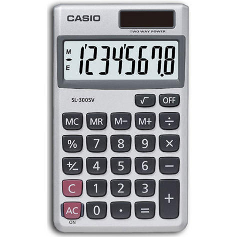 Casio SL300SV Handheld Pocket Calculator  Solar Powered VAT Function Thumbnail 1