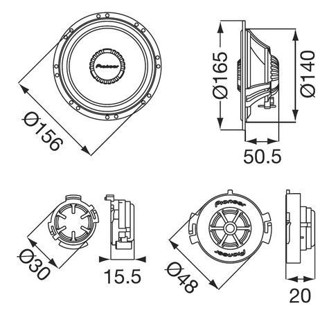 Pioneer TS Q171C|In Car 2way Coamponent Speakers|Door-Shelf|17cm|200W|For Renault Citroen Peugoet Thumbnail 2