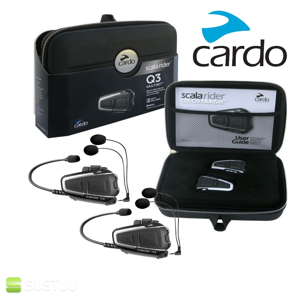 Cardo Scala Rider Q3 Multiset / Headset | Bluetooth Motorcycle Helmet Intercom Kit