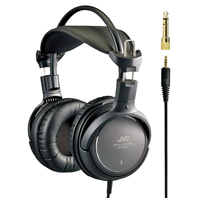 NEW JVC PREMIUM RING PORT HIGH QUALITY FULL OVER EAR HEADPHONES BLACK HA-RX900