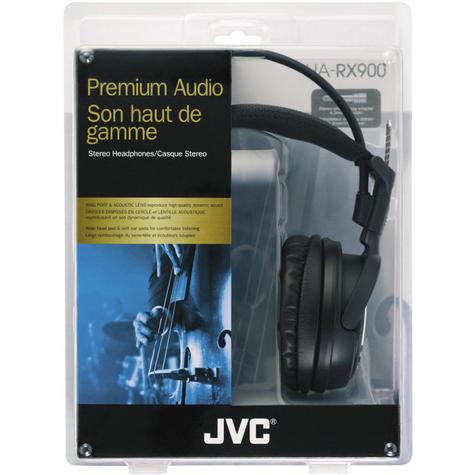 NEW JVC PREMIUM RING PORT HIGH QUALITY FULL OVER EAR HEADPHONES BLACK HA-RX900 Thumbnail 2