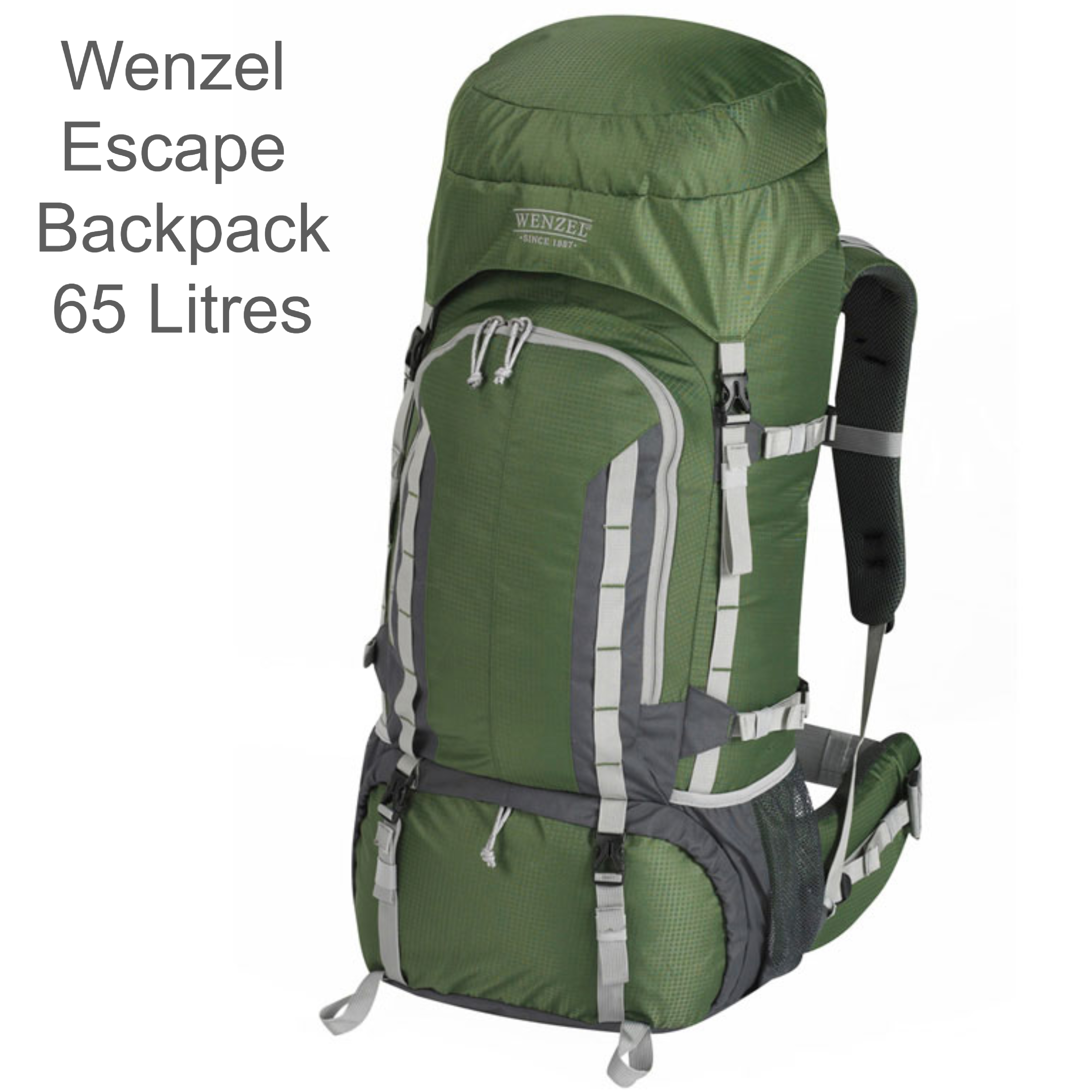 Wenzel Escape Backpack - 50 Litres - Forest Green?Polyster Carry Bag for Travellers