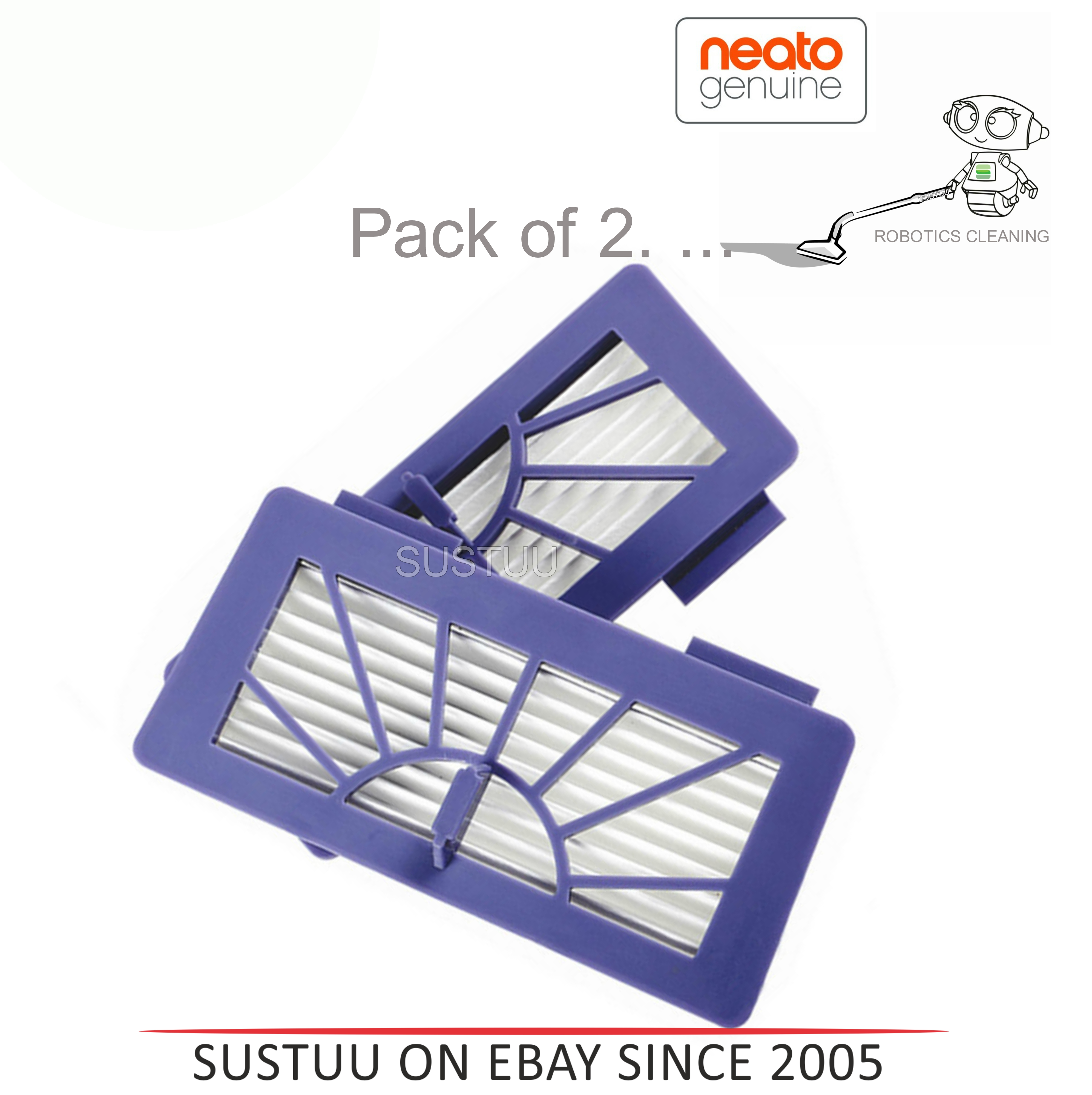 Neato XV Series High Performance Filters/Pads|For Robot Vacuum Cleaner|Pack of 2