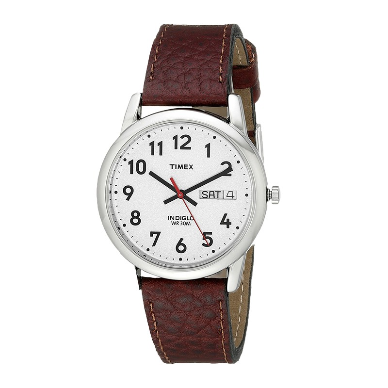 Timex T20041 Mens Leather Strap Analouge Wrist Watch|White Dial|Brown|Day-Date|