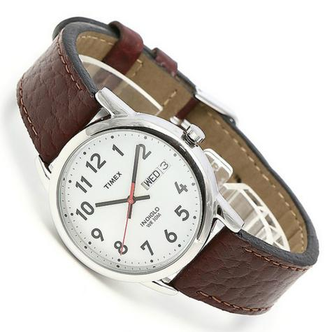 Timex T20041 Mens Leather Strap Analouge Wrist Watch|White Dial|Brown|Day-Date| Thumbnail 4