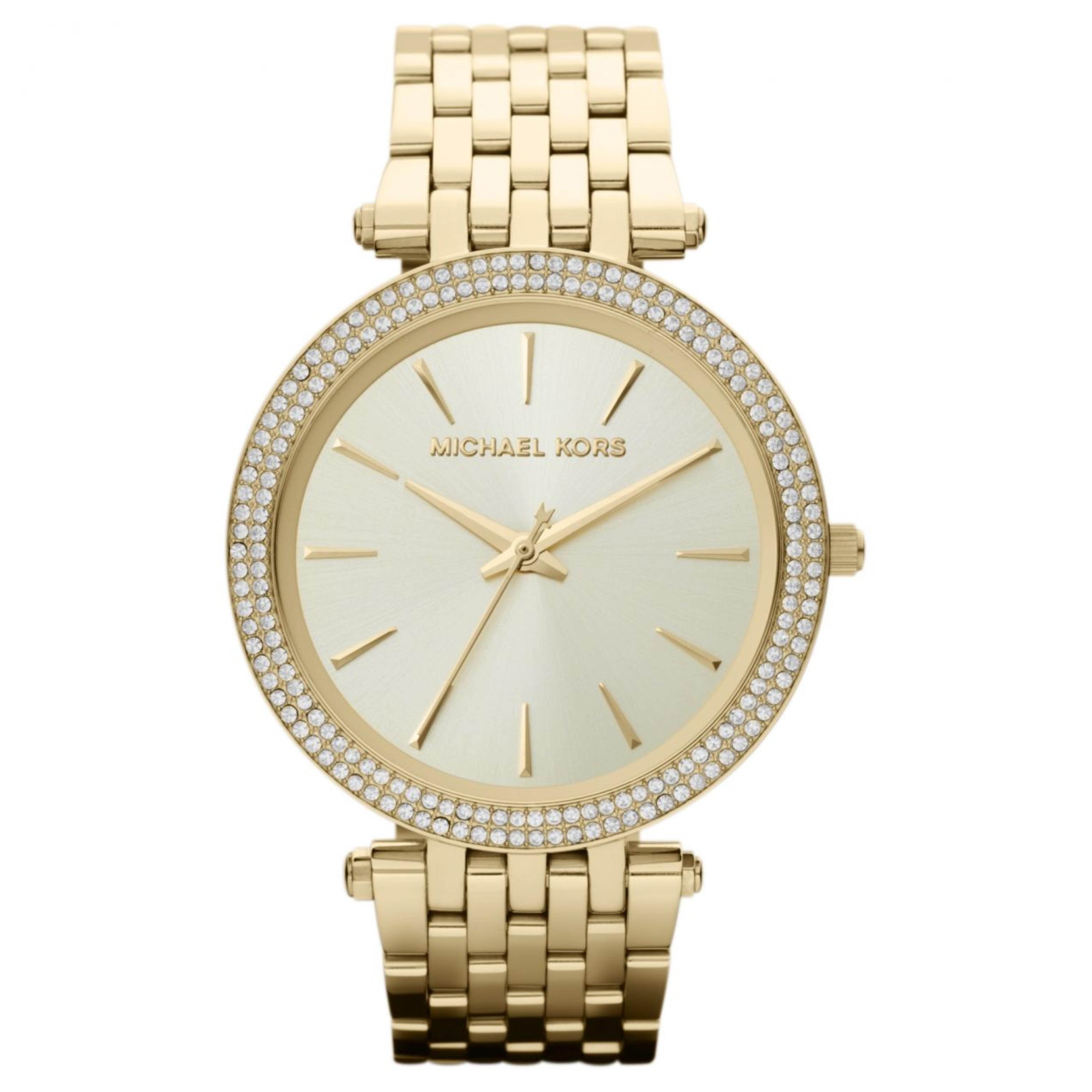 Michael Kors Darci Ladies Watch|Gold Tone Dial Pave Bezel|Bracelet Band|MK3191