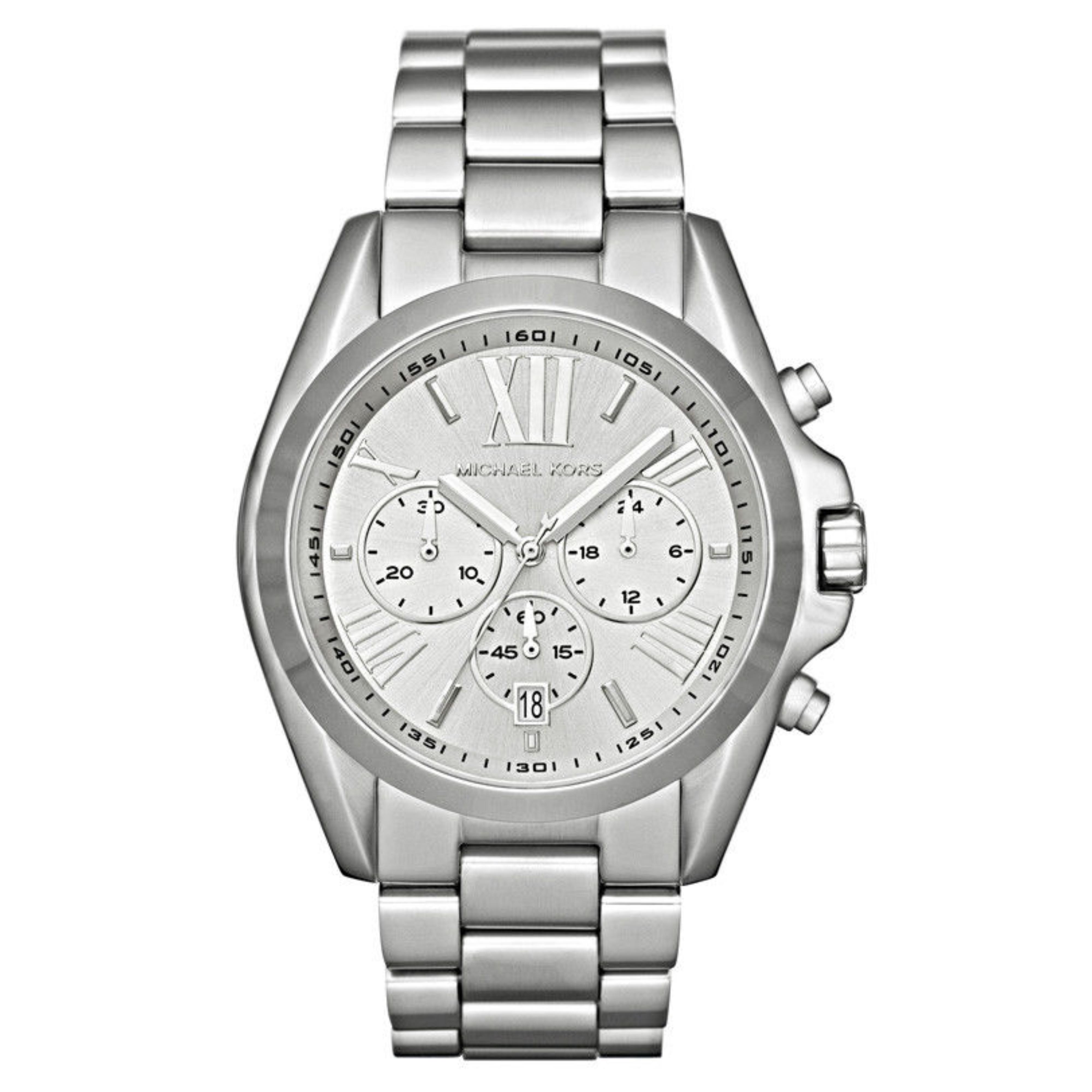 Michael Kors Bradshaw Las Watch Chronograph Dial Silver Tone Bracelet Mk5535