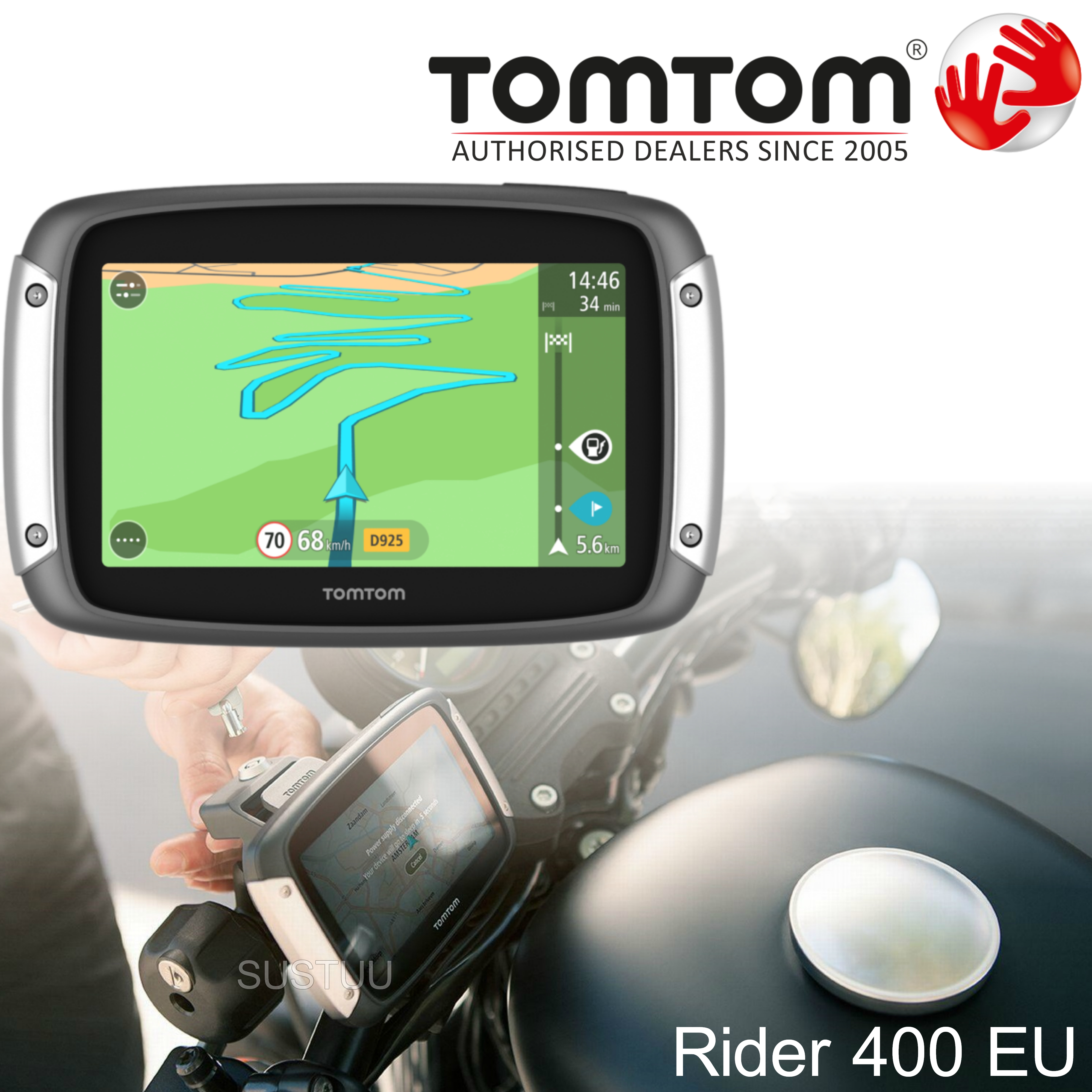 Tomtom Rider 400eu 2015 V6 Motorcycle GPS SATNAV Lifetime UK Europe 45 Maps