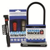 "Oxford ""Adult Three"" Cycle Lock Shackle/ Air Pump/ LED Lights L5 Bundle"