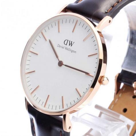 Daniel Wellington Ladies' York Rose 36mm White Dial Leather Strap Wrist Watch Thumbnail 1
