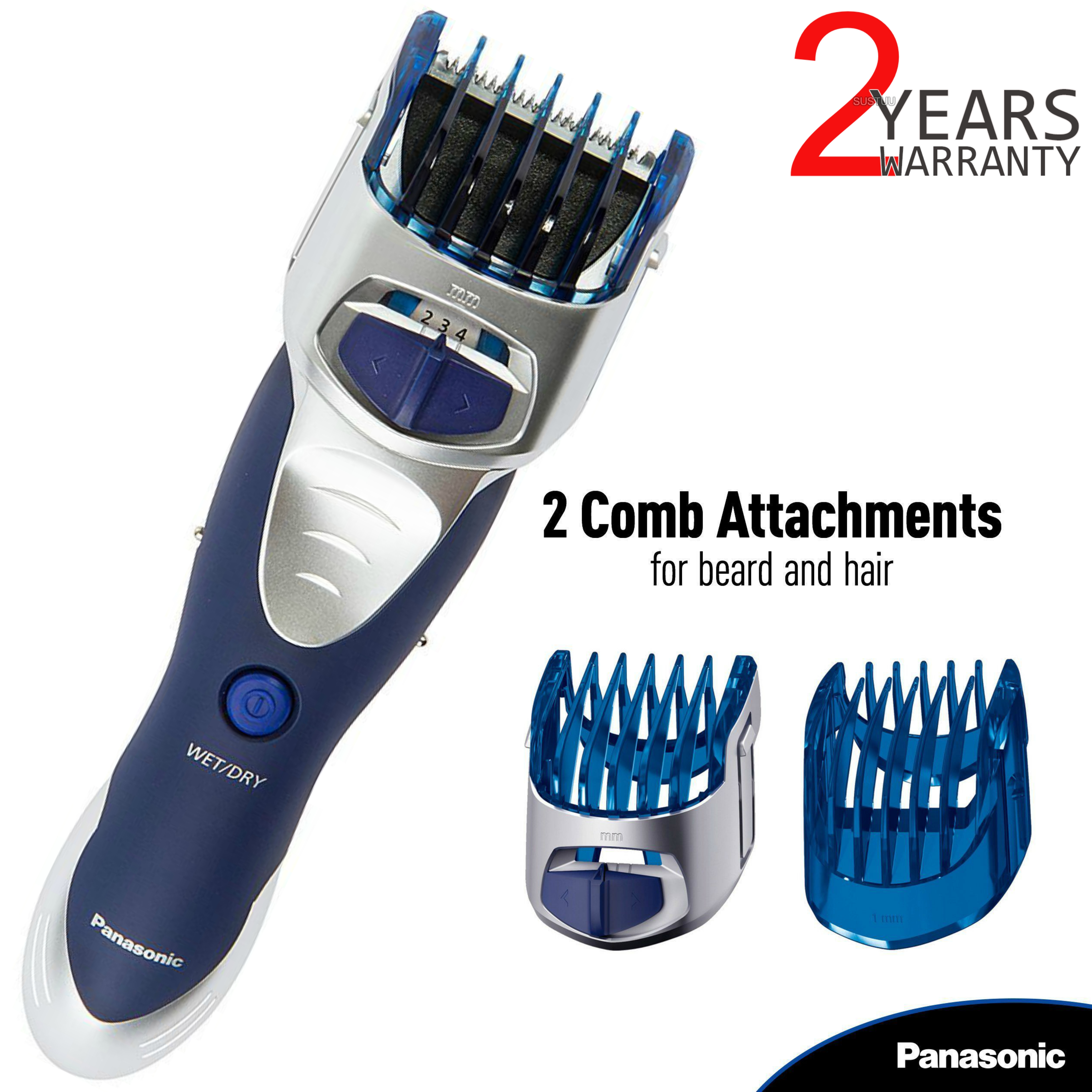 Panasonic Wet Dry Men's Hair-Body Rechargeable Trimmer Clipper | Cordless | ERGS60S