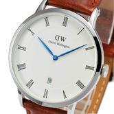 NEW Daniel Wellington Men's Dapper 38mm St Mawes White Dial Leather Strap Watch