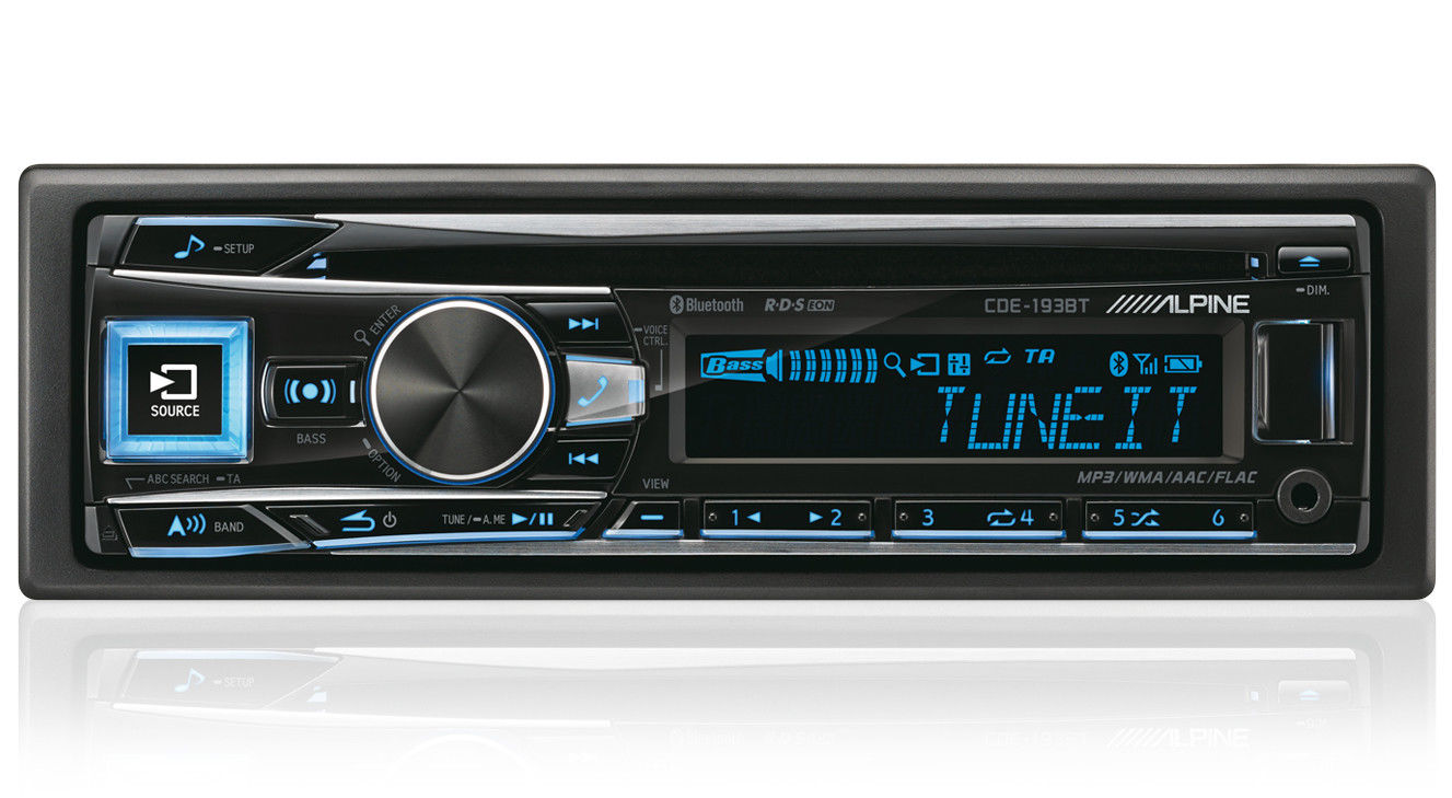 Alpine CDE 193BT Digital Car Media Receiver Radio/Cd/Mp3/Usb/Flac/Aux/Bluetooth