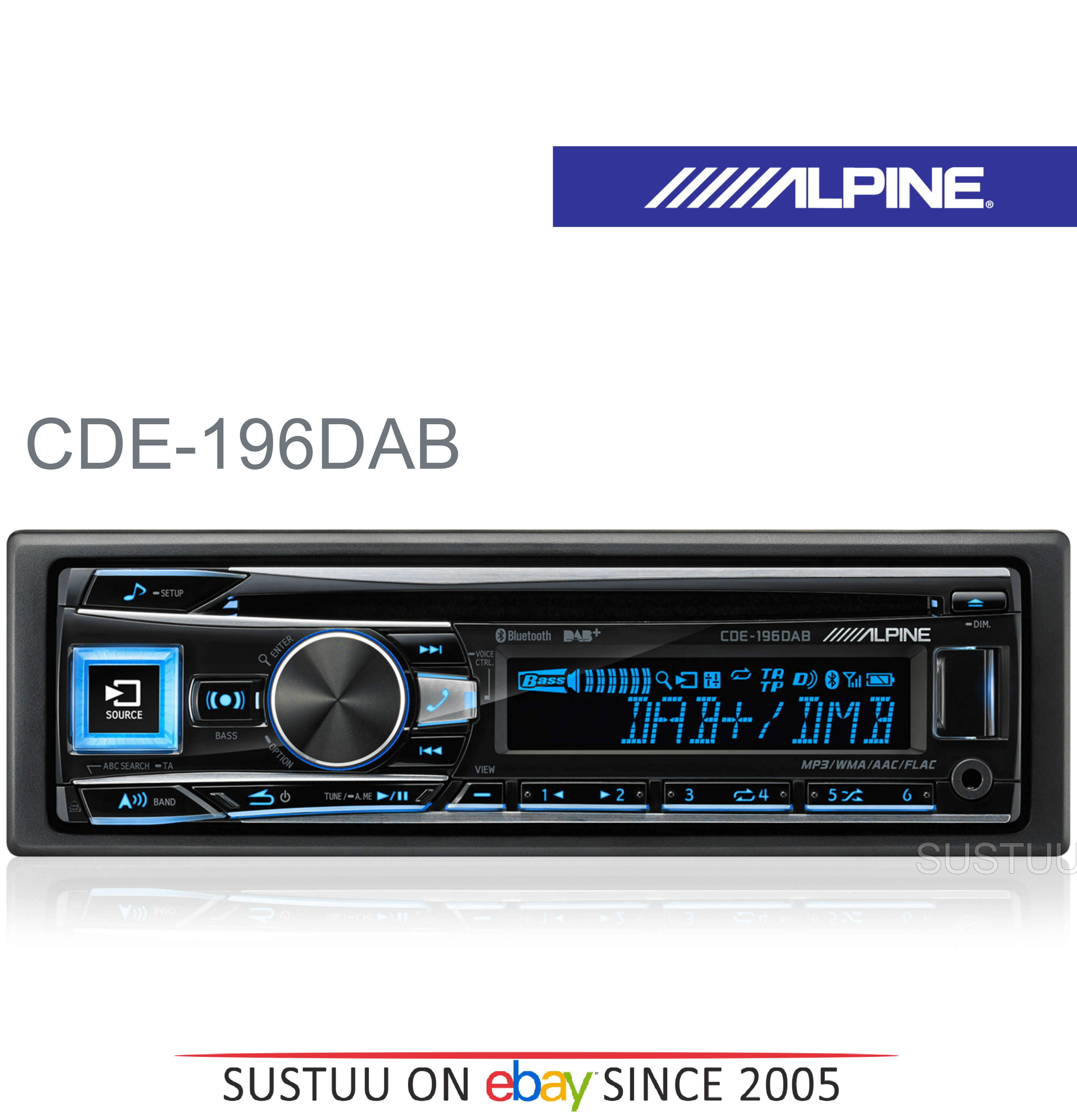 New Alpine CDE-196DAB Car Stereo FM MW LW CD Aux USB Bluetooth Fit Apple Android