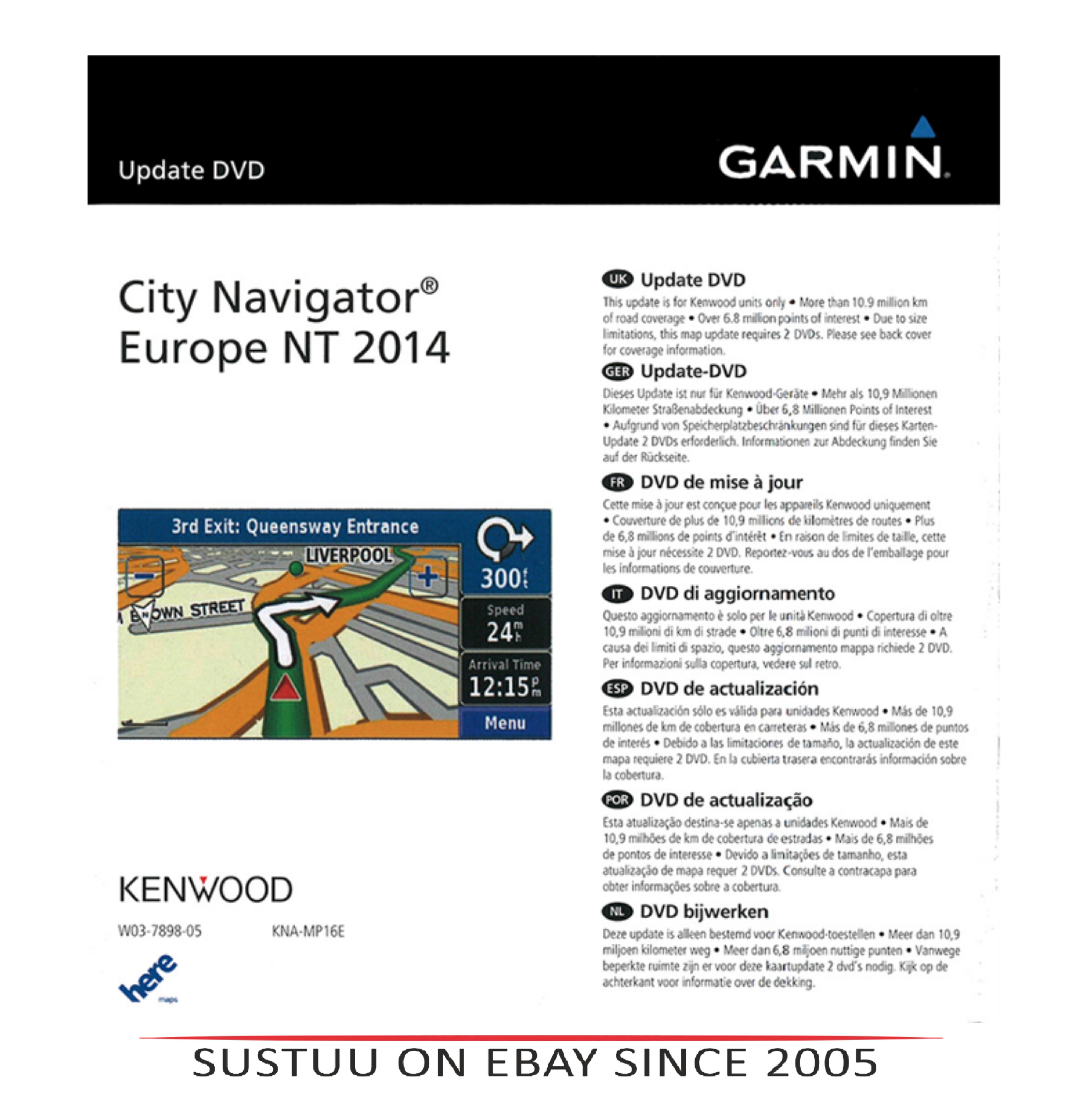Kenwood KNA MP16|GPS-SatNav Map Updates|Fits DNX7240BT,DNX5240/BT,DNX5220/BT