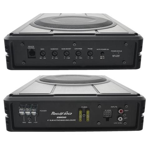 "Phoenix Gold Z8150 8"" Slim Active Underseat Subwoofer with Remote Bass Control Thumbnail 4"