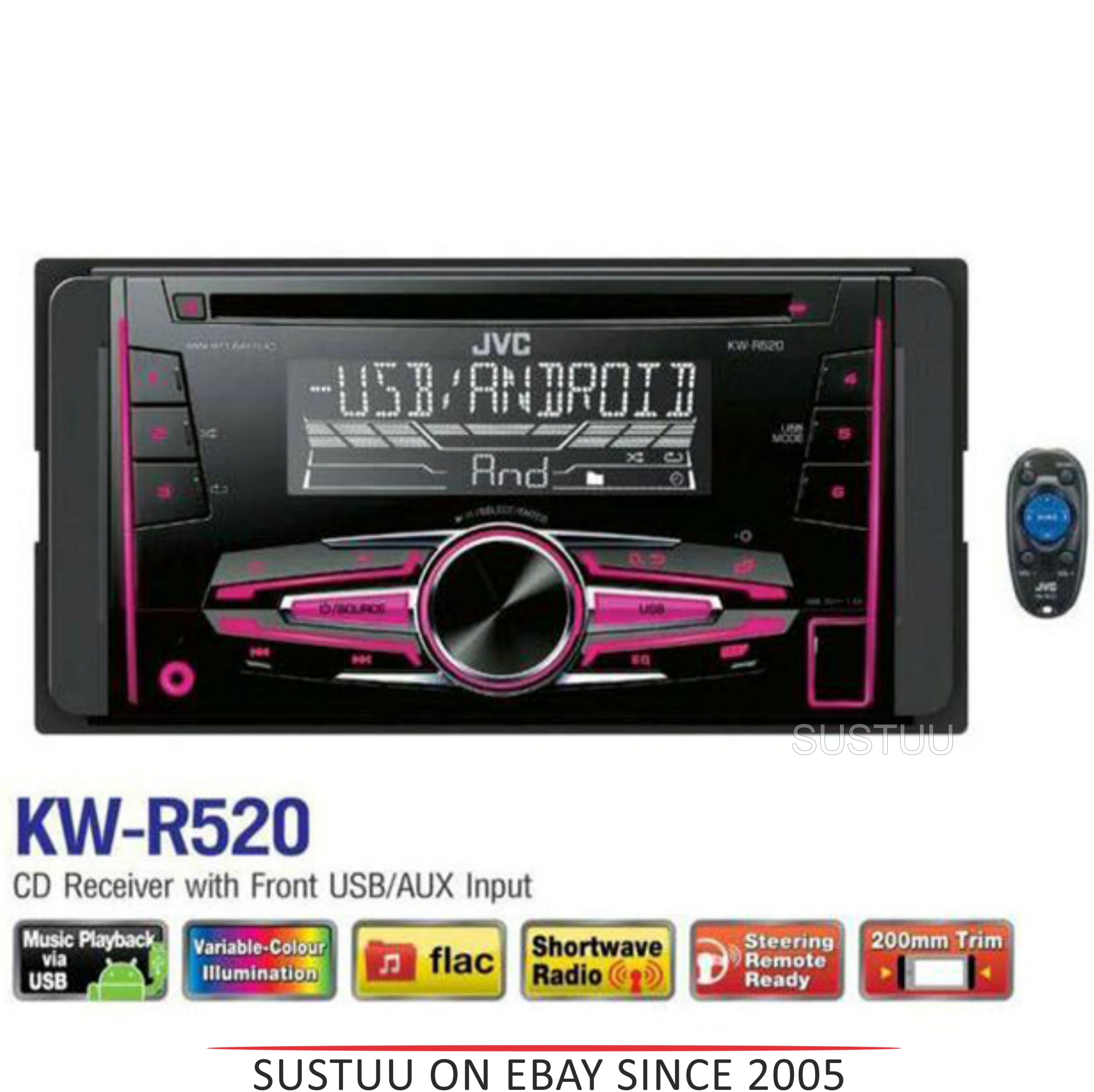 jvc kw r520 car stereo double din cd radio mp3 flac usb. Black Bedroom Furniture Sets. Home Design Ideas