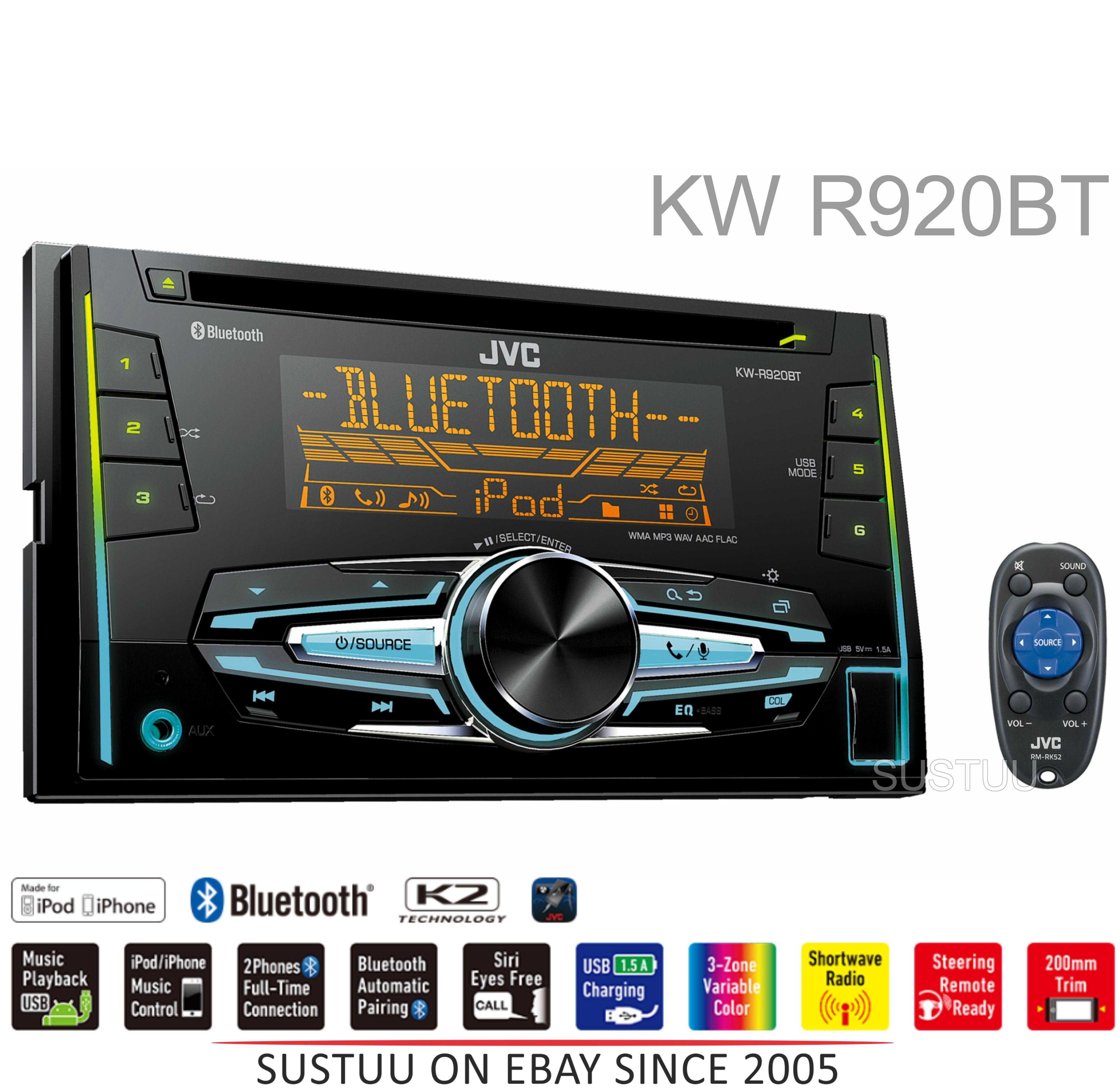 jvc kw r920bt car stereo double din bluetooth mp3 usb aux. Black Bedroom Furniture Sets. Home Design Ideas