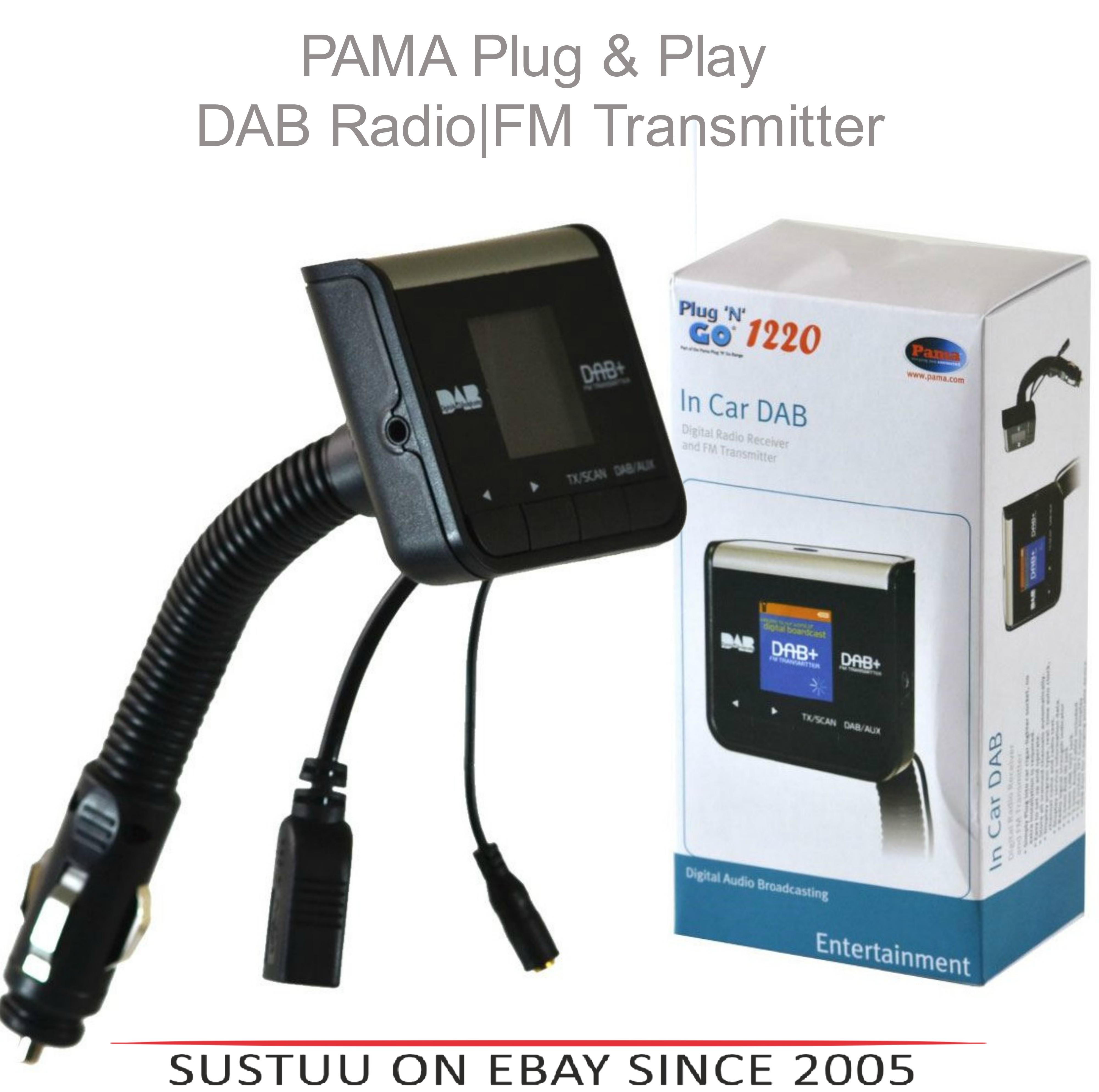 "Pama PNG1220 Car DAB Digital Plug & Go Radio|FM Transmitter|AUX IN|1.4"" Display"