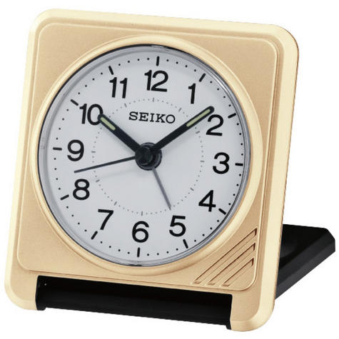 Seiko QHT015G Superior Travel Alarm Clock with Lumibrite Hands - Gold / Black Thumbnail 1