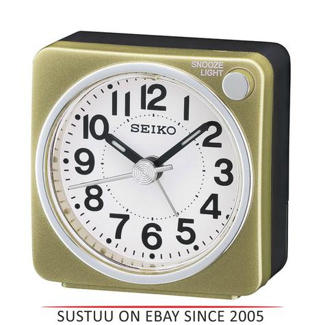 Seiko QHE118G Bedside Alarm Clock|Small Travel Clock|Snooze Light|Gold| Thumbnail 1