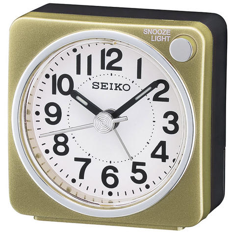 Seiko QHE118G Bedside Alarm Clock|Small Travel Clock|Snooze Light|Gold| Thumbnail 2