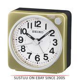 Seiko QHE118G Bedside Alarm Clock|Small Travel Clock|Snooze Light|Gold|