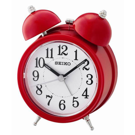 Seiko Bell Alarm Clock With Light And Snooze | Analog Display | Red/White | QHK035R Thumbnail 2