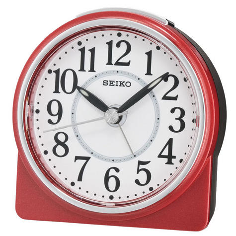 Seiko QHE137R Best Sweep Beep Alarm Clock / Snooze / Analouge Display / Red / NEW Thumbnail 1