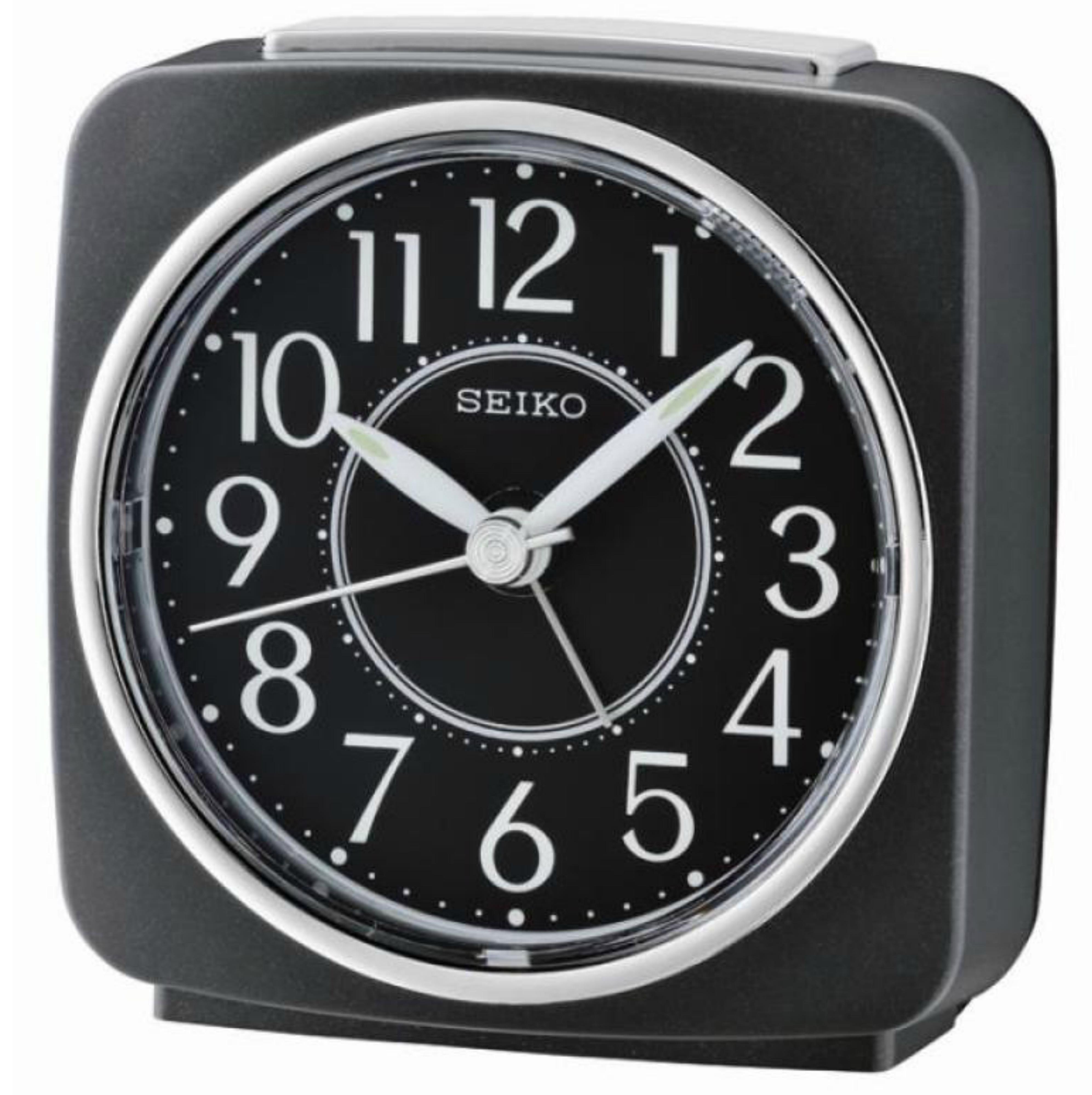Seiko QHE140K Beep Alarm Clock|Snooze|Analog|Lumibrite|Sweep Second Hand|Black|