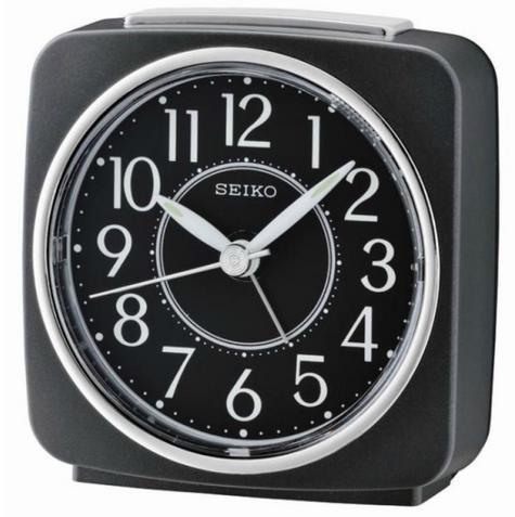 Seiko QHE140K Beep Alarm Clock|Snooze|Analog|Lumibrite|Sweep Second Hand|Black| Thumbnail 1