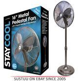 Lloytron F1225BH 16 inch 50w Metal Pedestal Cooling Fan | 3 speed setting | Black