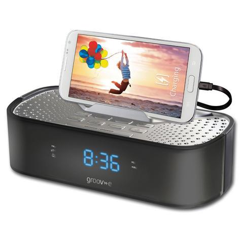 Groov-e TimeCurve Alarm Clock Radio with USB Charging Station - Black  GVSP406BK Thumbnail 1