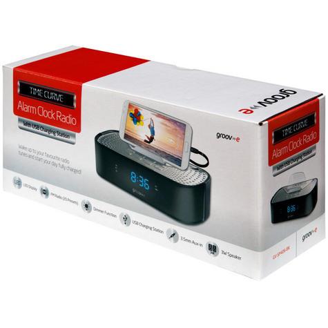 Groov-e TimeCurve Alarm Clock Radio with USB Charging Station - Black  GVSP406BK Thumbnail 3