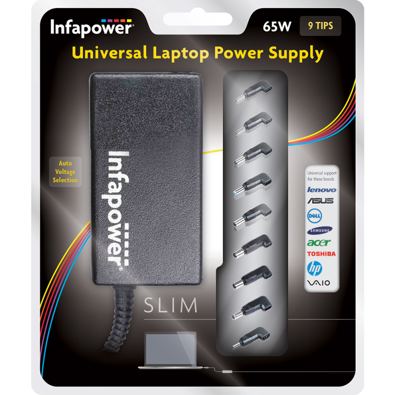 Infapower 65W 9 Tips Universal Laptop Automatic Power Supply | Auto Voltage | P033 |